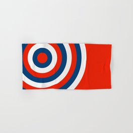 Retro Circles Pop Art - Red White & Blue Hand & Bath Towel