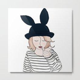 Fashion Girl wearing Bunny Ears hat Metal Print