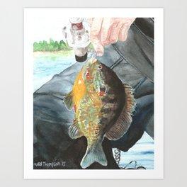 Fisherman with Bluegill Art Print