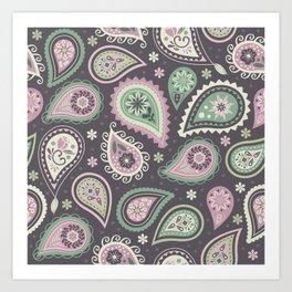 Soft romatic paisleys Art Print