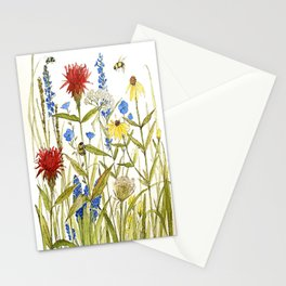 Garden Flower Bees Contemporary Illustration Painting Stationery Cards
