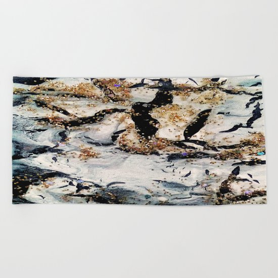 gray&gold  marble Beach Towel