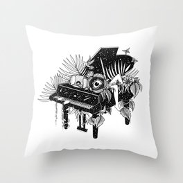 Piano, Melody of life Throw Pillow
