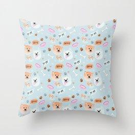 Yato Pups Shiro blue theme Throw Pillow