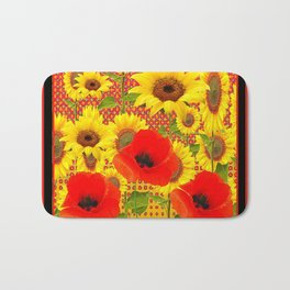 RED POPPIES YELLOW SUNFLOWERS  GREY PATTERN ART Bath Mat