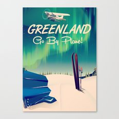 Greenland - Go by Plane! vintage poster Canvas Print