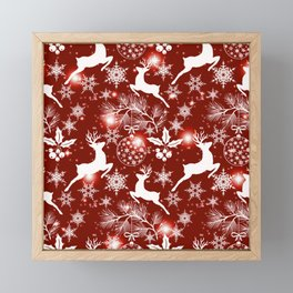 Red and white Christmas pattern with reindeer, snowflakes, spruce branches. Framed Mini Art Print