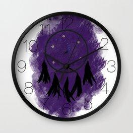 Dreamcatcher crow: Purple background Wall Clock