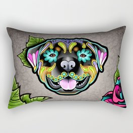 Rottweiler - Day of the Dead Sugar Skull Dog Rectangular Pillow