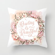 Reading is Beautiful floral wreath Throw Pillow