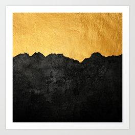 Black Grunge & Gold texture Art Print