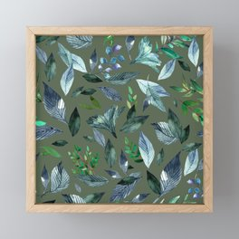Watercolor fallen leaves 18 Framed Mini Art Print