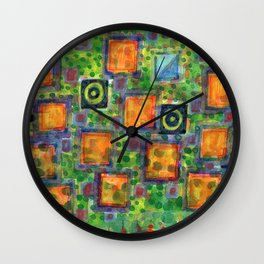Flying Lighted Squares over Landscape Wall Clock
