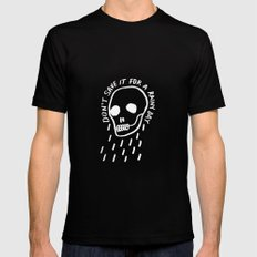 rainy day minimal skull hand lettering (dark) Black MEDIUM Mens Fitted Tee