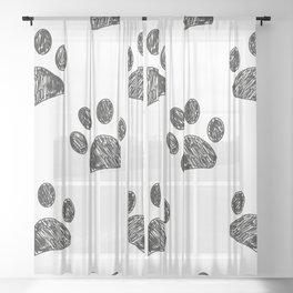Black Paw Print Background Sheer Curtain