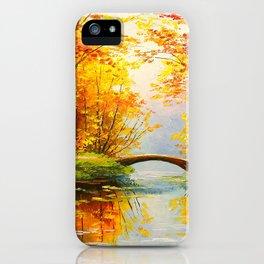 Bridge in the autumn forest iPhone Case