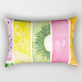 Summer Fruits Watercolor Abstraction Rectangular Pillow