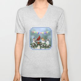 Christmas Birds and Garland Fence Unisex V-Neck