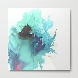 Blue Splash Abstract Watercolor Art Metal Print
