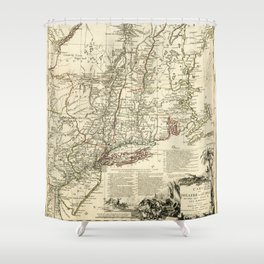 American Revolutionary War Map (1782) Shower Curtain
