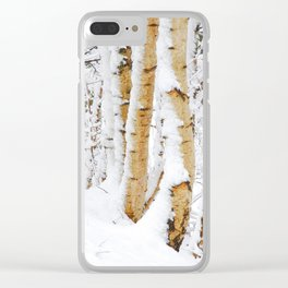 Snow Covered Birch Trees Clear iPhone Case