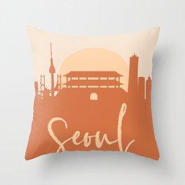 SEOUL SOUTH KOREA CITY SUN SKYLINE EARTH TONES Throw Pillow