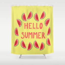 Hello Summer Watercolor Handlettered Painting - Yellow Background Shower Curtain