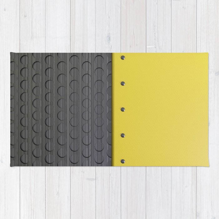 Colored plate with rivets and circular metal grille Rug