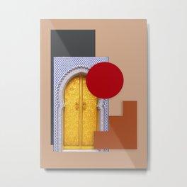 Minimalist Abstract Desert Traditional Moroccan Door Collage Style Metal Print