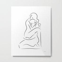 Minimalist lovers art print. Erotic line drawing sketch for bedroom. Metal Print