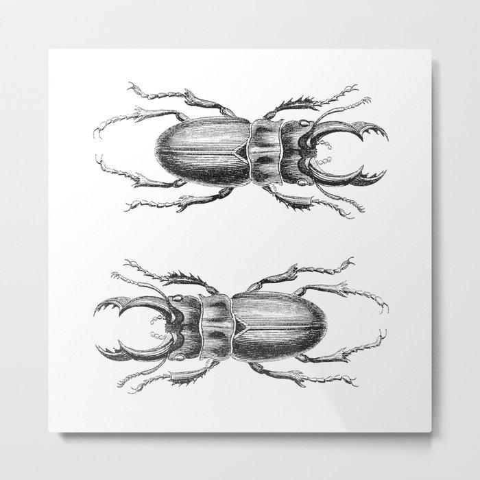 Vintage Beetle black and white Metal Print