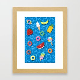 Sweet Treats Pool Floats Pattern – Blue Framed Art Print