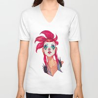 clown V-neck T-shirts featuring Clown by trevacristina