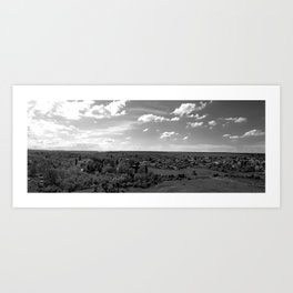 Old bulgarian village panorama, black and white photography Art Print