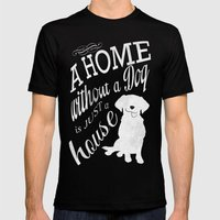 Home with Dog MEDIUM Black Mens Fitted Tee