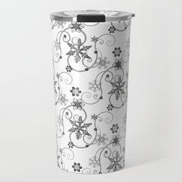Snowflakes (Black) Travel Mug