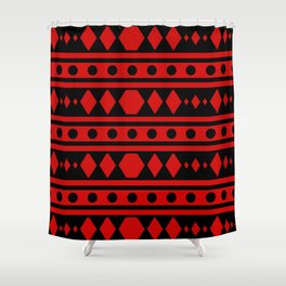 Tribal Red Pattern Shower Curtain