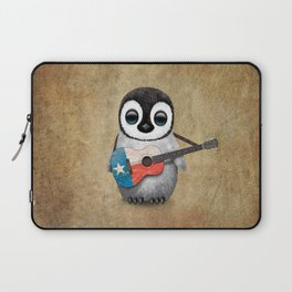 Baby Penguin Playing Texas Flag Guitar Laptop Sleeve