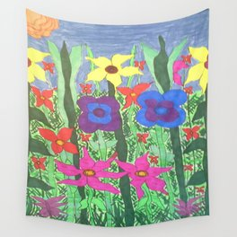 Bohemian Garden Floral Ilustration Wall Tapestry