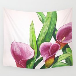 Red Callalilly enlarged in watercolor Wall Tapestry