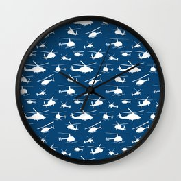 Helicopter Silhouettes on Blue Wall Clock