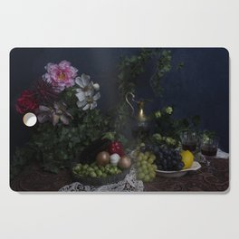 Classic  still life with flowers, fruit, vegetables and wine Cutting Board