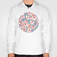 bedding Hoodies featuring Shabby Chic Hibiscus Patchwork Pattern in Pink & Blue by micklyn