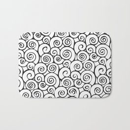 Modern Black and White Abstract Swirly Pattern Bath Mat