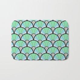 Green Pastel Art Deco Fan Pattern Bath Mat