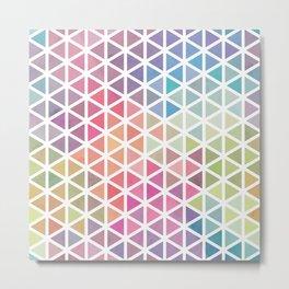 Geometric Fractal Triangles Bubblegum Rain Metal Print