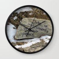 poland Wall Clocks featuring Peace in Poland by Anything et Everything by Nina L.