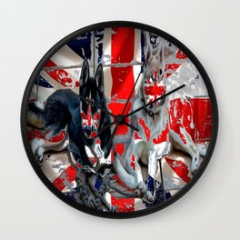 huskies in the union flag Wall Clock