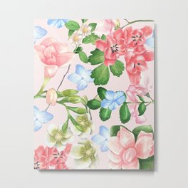 Watercolor Floral Collage in Blush Metal Print