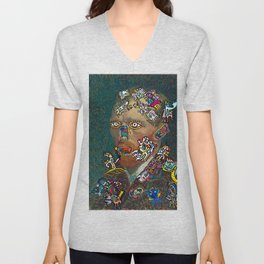 Self Portrait by Vincent Van Gogh  and Graffiti Cool Monsters  Unisex V-Neck